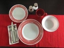 Serviciu de masă , Farfurii în set 16 piese-Corelle® Brushed Rosu