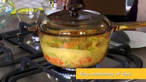 Vas de gătit termorezistent (Cratiță) 2,5L  cu Coadă și Capac Visions® Standard