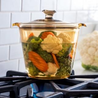 Vase de gătit termorezistente Set 4 piese (1x1.2 l cu capac+1x5.5 l cu capac) -Visions® Flair