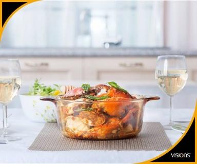 Vas de gătit termorezistent 5 l cu capac-Visions® Standard