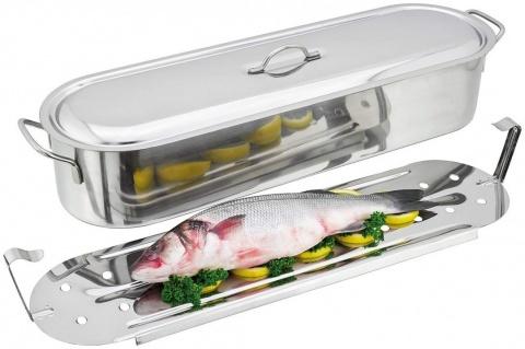 Vas cu grătar și capac pentru pește la aburi Inox 18/10-Paderno