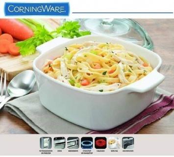Vas de gătit din ceramică formă pătrată cu capac -5 L CorningWare® Classic