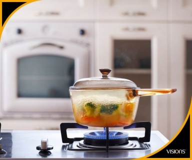Vas de gătit termorezistent (Cratiță) 1,5 l cu capac-Visions® Standard