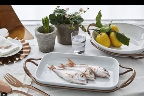 Suport din Inox cu vas din Porțelan pentru pește 48 cm-Sambonet